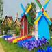 户外大型荷兰风车防腐木风车水车景区木质风车道具观光风车现货