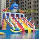 鲨鱼水滑梯移动水乐?#20843;?#19978;滑梯充气滑梯支架水池充气水池万森厂家