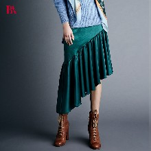 BLUAMORE2017秋冬新款女装墨绿色休闲宽松中长款包臀裙百褶裙半身裙图片