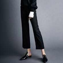 BLUAMORE2017秋冬新款女裝白色豎紋OL職業褲裝工作服黑色西裝褲正裝褲圖片