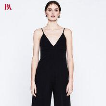 BLUAMORE2018春夏新款薄款雪紡黑色長款吊帶大V領露背性感長褲連體褲圖片