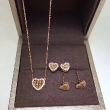 18k金钻石心形耳环项链珠宝首饰薇兹优饰