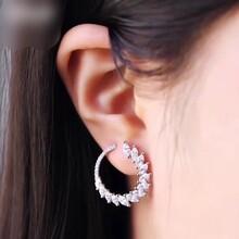 APMMonaco纯银镶晶钻环形光韵耳环AE10229OX