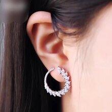 APMMonaco纯银镶晶钻环形光韵耳环AE10229OX图片