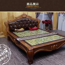 厂家供应双东玉玉石床垫DY5003双人床真皮实木床冬暖夏凉保健加热床图片