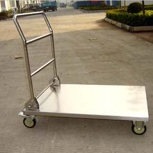 销售各类物流手推车定做各类尺寸不锈钢平板推车不锈钢双层手推车