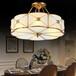 厂家直销全铜半吊灯新中式灯卧室书房玄关纯铜灯吊灯吸顶灯饰灯具
