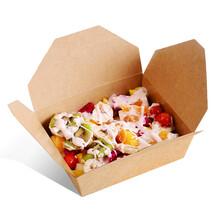 现货进口牛皮纸200只打包水果沙拉一次性环保牛皮纸餐盒打包饭盒