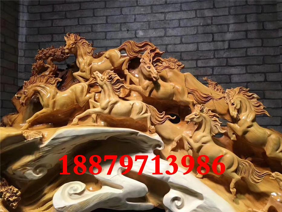 嘉匠崖柏根雕摆件八骏雄风陈化料老料木雕原木树根家雕刻工艺品