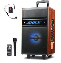 狮乐广场舞音响户外蓝牙便携式木质拉杆音箱大功率移动插卡播放器带无线麦克风