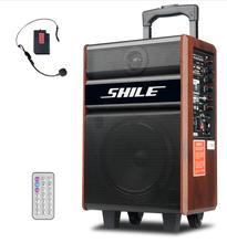 广场舞音响户外蓝牙便携式木质拉杆音箱大功率移动插卡播放器带无线麦克风皇冠三号