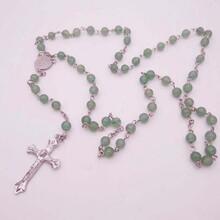 外贸饰品纯手工九字针纯6mm天然绿东陵宝石长款项链图片