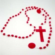海外热销夜光十字架项链宗教天主教饰品塑料发光念珠项链批发图片
