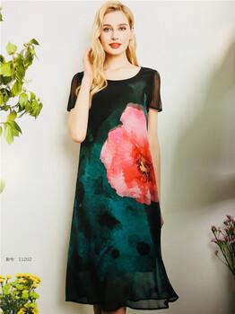 广州品牌女装拿货渠道佰诗赢19夏装真丝连衣裙品牌折扣女装批发