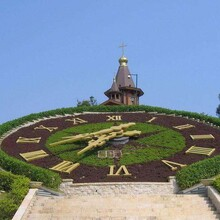 烟台启明钟楼时钟,洛阳供应花坛钟结构图片