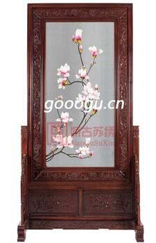 玉兰花苏州手工双面刺绣实木玄关屏风现代中式简约家用苏绣隔断