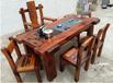 老船木茶桌椅組合批發實木茶幾茶具圖片中式仿古