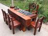 个性老船木家具石磨方形茶桌茶台