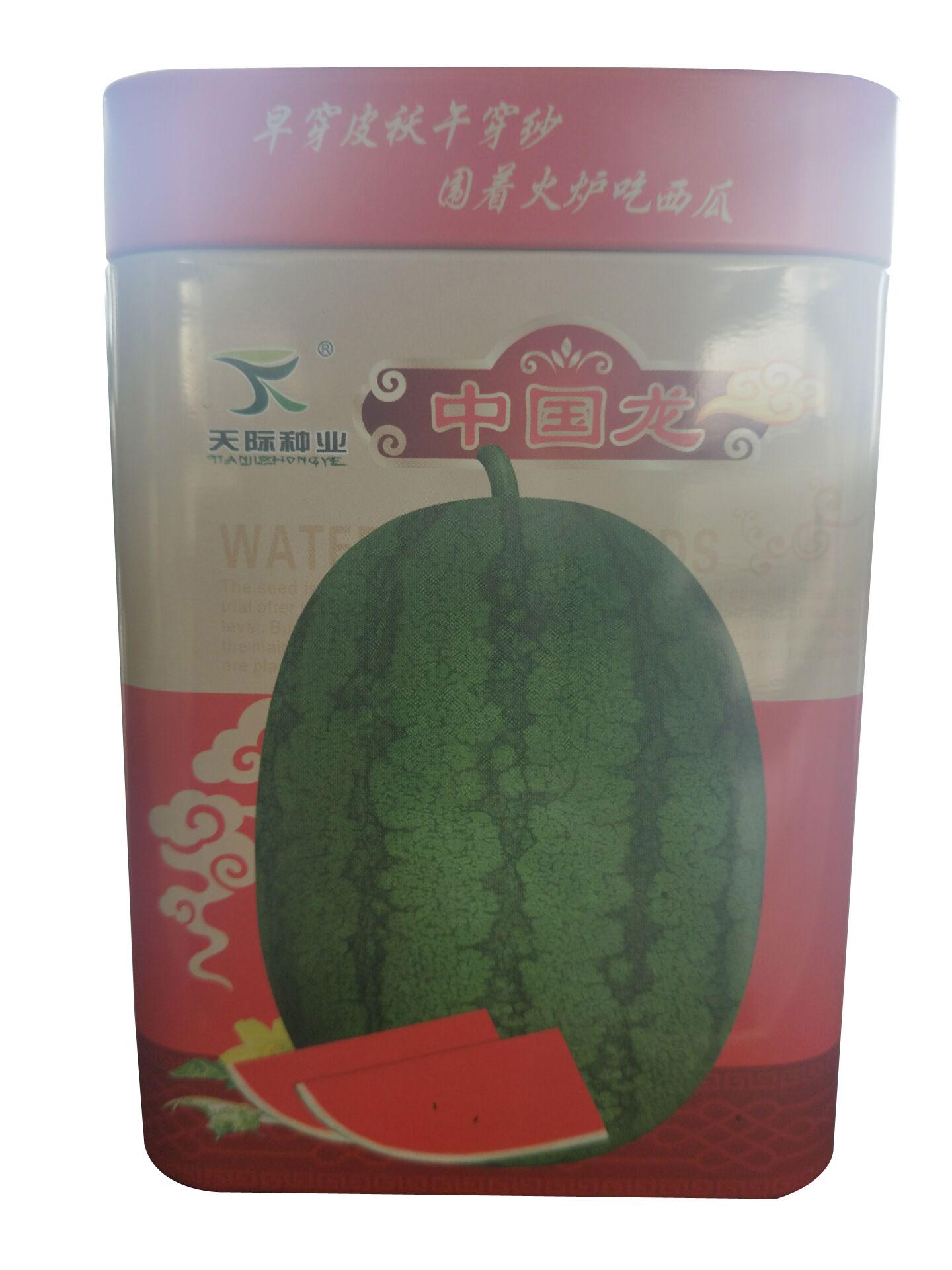 供應方形西瓜種子罐中國龍西瓜鐵罐專業定制