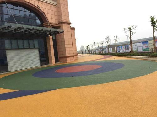 贵州安顺公园彩色透水混凝土枫彩地坪