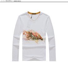 捷美斯秋季体恤修身男装上衣服白色印花T恤男长袖t恤男长袖莫代尔圆领秋季衣服体恤小衫