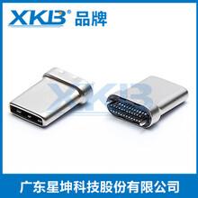 供应台湾星坤TYPE-C拉伸公头双面插24PIN连接器