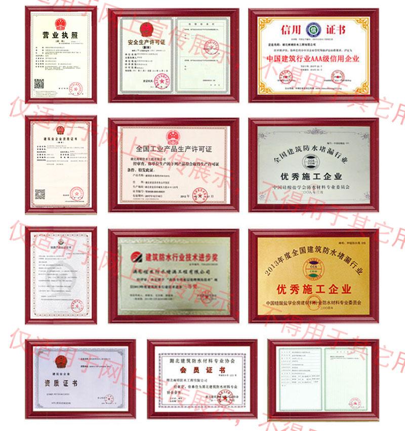 惠州橡胶沥青防水涂料荣誉资质