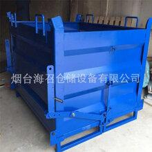 厂家定制烟台铁屑箱威海带叉车孔铁皮金属箱底部打开金属箱倒料周转箱