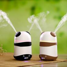 新品熊猫香薰机创意双雾超声波香薰机卡通七彩小夜灯喷雾香薰机