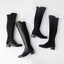 过膝长靴女瘦腿弹力靴方跟圆头显瘦高筒中跟真皮长筒靴子图片