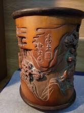 清代雕刻大師杜士元-雕刻工藝家竹雕高士圖筆筒圖片