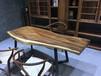 胡桃木大板茶桌实木办公桌乌金木原木书桌异形茶餐台
