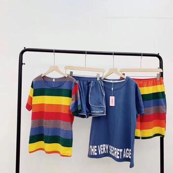 男女夏款情侣套装,韩国彩虹情侣家居服套