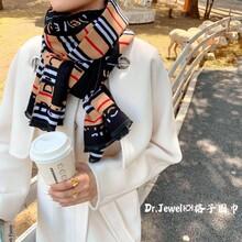 2020新款東大門巴寶莉風格子條紋圍巾秋冬款,百搭款圍巾圖片