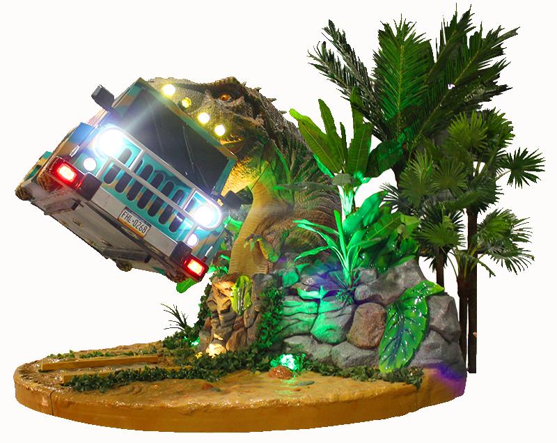 勇闯侏罗纪_游戏设备_侏罗纪恐龙叼着越野车_恐龙主题设备_勇闯侏罗纪探险VR游戏机