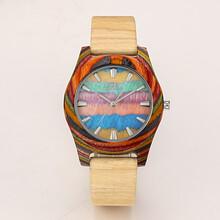 新款歐美時尚個性環保金剛彩木男士進口石英手表木頭腕表廠家支持定制批發圖片