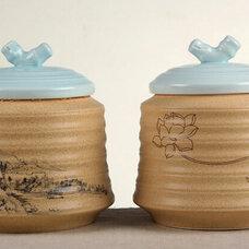 茶叶包装罐,防潮茶叶包装罐,高档茶叶包装罐,彩釉陶瓷茶叶罐
