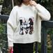 新款套头半高领加厚卡通图案宽松蝙蝠袖韩版毛衣女针织衫2017款