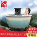 洗浴缸陶瓷露天洗澡大缸水缸橢圓溫泉陶瓷泡澡浴缸日式壺風呂泡缸