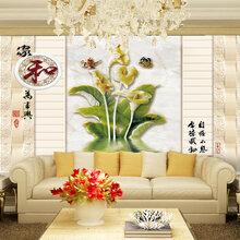 室内背景墙仿玉雕家和富贵背景墙