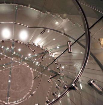 佛山出口10+10旋转楼梯防滑玻璃