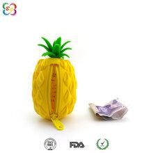 广州休闲硅胶钱包批发,欧美菠萝零钱包硅胶现模定制,拉链钱包供应