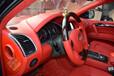 奥迪Q7内饰改装大红色中控门板座椅包真皮成都艺腾
