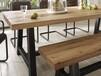 订制铁艺餐桌做旧实木餐桌椅组合长方形饭桌复古咖啡厅休闲桌定做