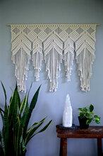 厂家直销手工编织挂毯棉绳打结编织镂空墙挂手工羊毛挂毯波西米亚挂饰图片