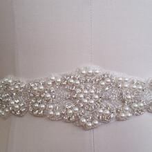 厂家直销婚纱水钻腰带新娘钉珠腰饰网底珍珠水晶礼服腰带手缝亮片装饰花腰带