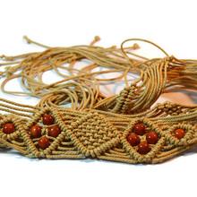 廠家直銷蠟繩編織鏤空腰帶棉繩打結編織腰鏈皮條編織腰帶手工編織腰帶布條編織腰帶圖片