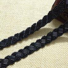 厂家直销钉珠条码珠绣花边串珠条带手缝珠片花边网纱绣珠花边