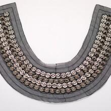 厂家直销串珠假领子珠绣衣领手缝珠片领花手工钉珠衣领网底木珠绣假领