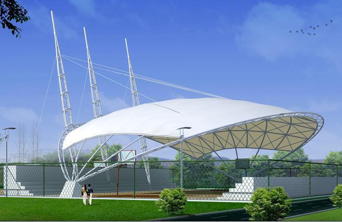 网球场膜结构遮阳棚